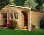 Woodfeeling Gartenhaus Radur 0 28 mm 2-Raum-Haus, Satteldach, 387 x 253  cm, ca. 8,4 m²