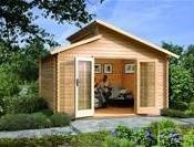 Karibu Gartenhaus Värmland 2 Blockbohle 28mm,  Satteldach, Stufendach,  13,25 m²