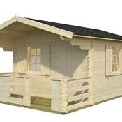 Palmako Blockbohlenhaus Harriet 34 mm natur inkl. Terrasse und Fensterläden