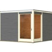 Karibu Gartenhaus Holz Cubus Eck 2 terragrau, Flachdach, 28 mm, ca. 9,86 m²