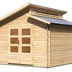 Karibu Gartenhaus Värmland 1 Blockbohle 28mm, Satteldach, Stufendach, 310 x 310 cm , ca. 9,24 m²