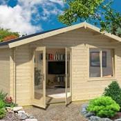 Gartenhaus G13 - 34 mm Blockbohlenhaus, Grundfläche: 18,90 m², Satteldach